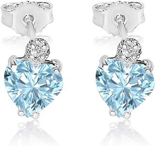 Pendientes Mujer Oro y Diamantes - Oro Blanco 9 Quilates 375 ? Diamantes 0.03 Quilates - Aguamarina 2 Quilates - pour dire je t'aime