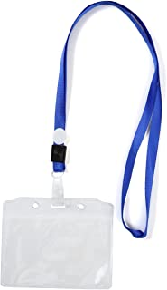 (Lupi Lupi) ネックストラップ 名刺 ID カードホルダー 50組セット 4色 (青)