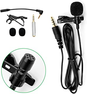 Professional Lavalier Microphone Clip-on Omnidirectional Condenser Mic for iPhone, iPad, MacBook, Android Smartphones, Laptop and PC