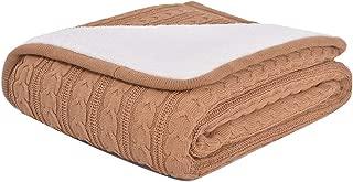 GuoCu Manta de Punto Suave Cálido Tejer Elegante Cobertura para Ver la televisión en la silleta, sofá y Cama Caqui 120 * 180cm