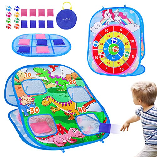 3 in 1 Kids Toys Bean Bag Toss Game Corn Holes Outdoor Indoor Toddler Outside Dart Board Toys with 8 Bean Bags & 8 Sticky Balls Beach Yard Lawn Games Toys Gift for Kids Boys Girls Age 2-43-54-8