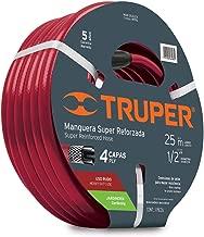 """Truper MAN-25X1/2X, Manguera armada super reforzadas 4 capas, conexiones de latón, 1/2"""", 25 m"""