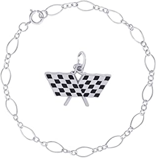 Sterling Silver Enameled Checkered Racing Flags Charm Bracelet, 7