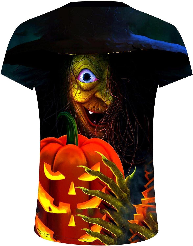 Burband Mens Halloween Pumpkin Shirts Gothic Skull Tees Shirts Funny 3D Print Short Sleeve Athletic Workout Muscle Tops