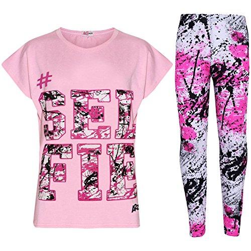 A2Z 4 Kids®, Set mit T-Shirt mit LOVE-Aufdruck und Leggings im Farbspritzer-Design für Mädchen im Alter von 7 bis 13 Jahren Gr. 13 Jahre, Selfie Splash Set Baby Pink