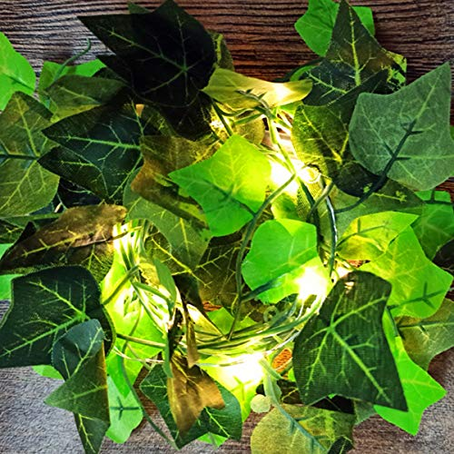 DEDC 6.6 Ft 20 LED String Lights Artificial Ivy Fake Garland Green Leaf Plants Vine Battery Operate Fairy String Lights Hanging for Wedding Party Home Wall Decor (Boston Ivy Leaves)