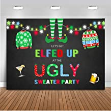 Mocsicka Elfed Up Ugly Sweater Party Backdrop Christmas Ugly Sweater Photography Background 7x5ft Vinyl Christmas Holiday Ugly Sweater Party Backdrops