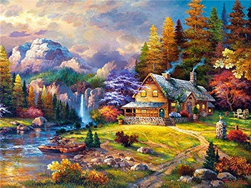 5D Diamond Painting Landscape Cross Stitch House Embroidery Needlework Mosaic Rhinestones Pictures Home Decor A10 30x40cm