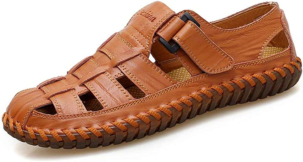 YING (人気激安) LAN Men's Casual Leather お気に入り Fashion Outdoor Sandals Toe Closed