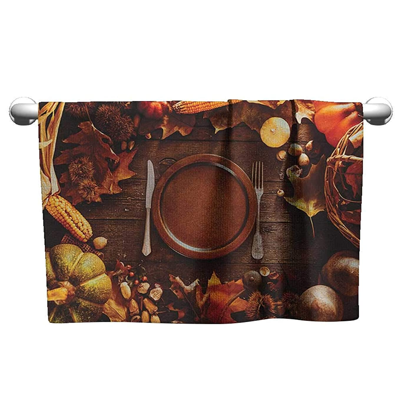 壊す役職報いるフローラル ハンドタオル 収穫 感謝祭の夕食 秋の色 テーマプレートとカトラリー 季節の食料 ブラウン オレンジ タオルマット バスルーム W12