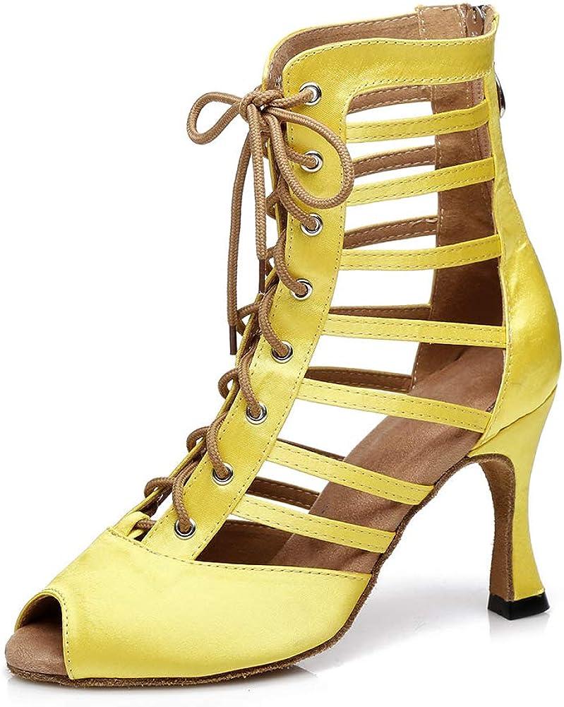 Women Satin Shoelace Open toe Latin Salsa Samba Tango Dance Shoes Wedding Ballroom Flared Heel Soft Soles High Heels Sandals