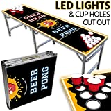 Drinking Game Zone Portable LED Beer Pong Table – 8ft & Easy Folding w/Adjustable Height – Cup Holes Cut Out Design w/Yellow Lights – Perfect for Tailgates, BP Parties, Flip Cup By