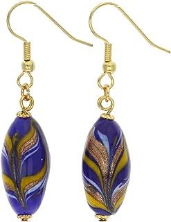 GlassOfVenice Murano Glass Laguna Festooned Olives Earrings
