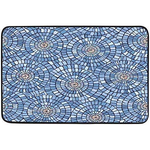 Absorbent Door Mat, Seamless Vector Pattern of Circular Blue Marble Mosaic, W15.75 x L23.6 Inch Waterproof Absorb Bathroom/Kitchen Floor Mat Shoes Scraper