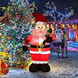 MRah Lighted Inflatable Santa Claus Christmas Decoration - 4ft Blow Up Santa with Built-in LED Light for Christmas Party Yard Garden Decoration