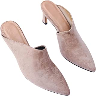 Nailyhome Womens Pointed Toe Kitten Mules Low Heels Slip On Pumps Slide Backless Dress Sandals