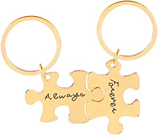 Aooaz Key Chain Id Tag Puzzle Piece Engraved Always Forever Inspirational Keychain Girls
