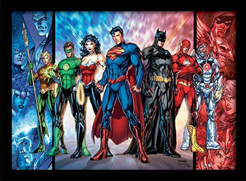 DC Comics 30 x 40 cm United la Liga de la Justicia con Marco