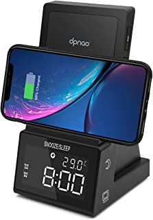 dpnao Alarm Clock with Wireless Charging Dock Stand Bluetooth Speaker Night Light USB Fast Charger Compatible with iPhone ...