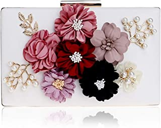 Clutch Handbag Women's Fashion Banquet Evening Dress Beading Flowers Shoulder Bags Wedding Party Crossbody Bag Prom Wallet Gold Pocket (20×4×12cm)