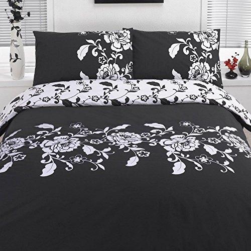 Dreamscene Parure de lit Douce avec Housse de Couette et taie d'oreiller, Polyester, Imprimé Floral Noir et Blanc., Simple