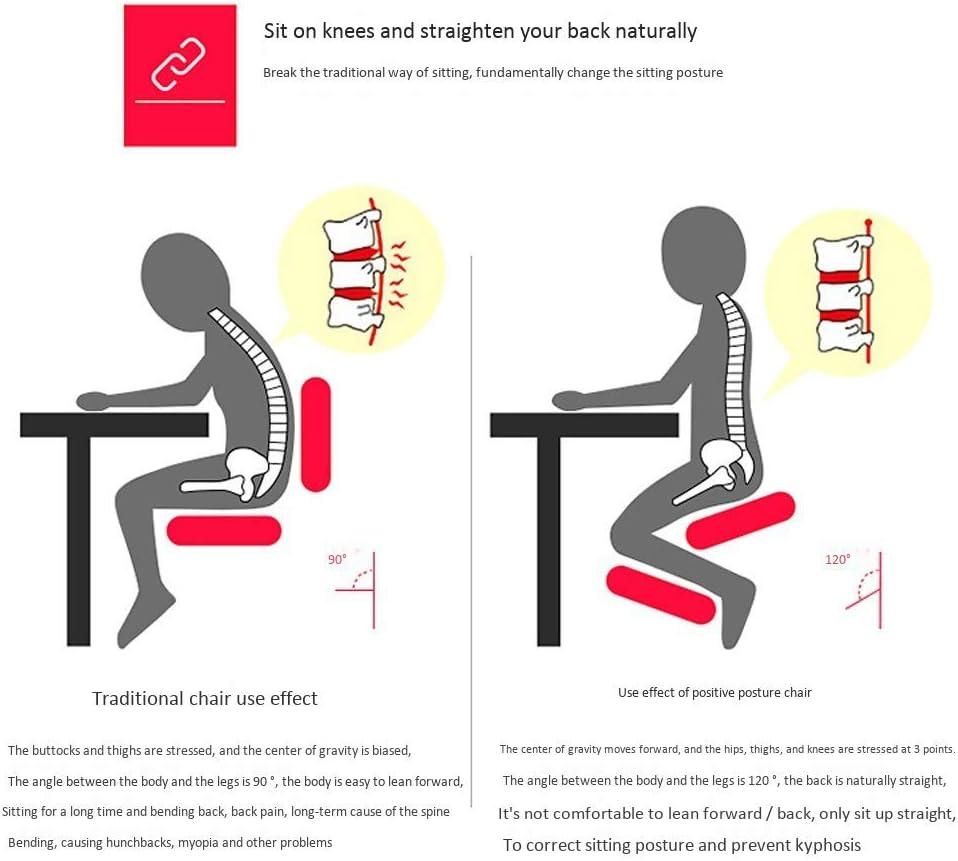 ZLJ Chaise à Genoux Ergonomique, Tabouret de Posture en Bois avec Angle et Hauteur réglables, siège rembourré épais, Chaise d'ordinateur de mobilier de Bureau Moderne Black