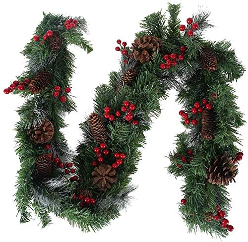 1.8M Christmas Garland with Pine Cones Red Berry Baubles, Artificial Green Pine Garland for Garden Wedding Party Stairs Fireplaces Xmas Tree Ornament Decoration XYXG