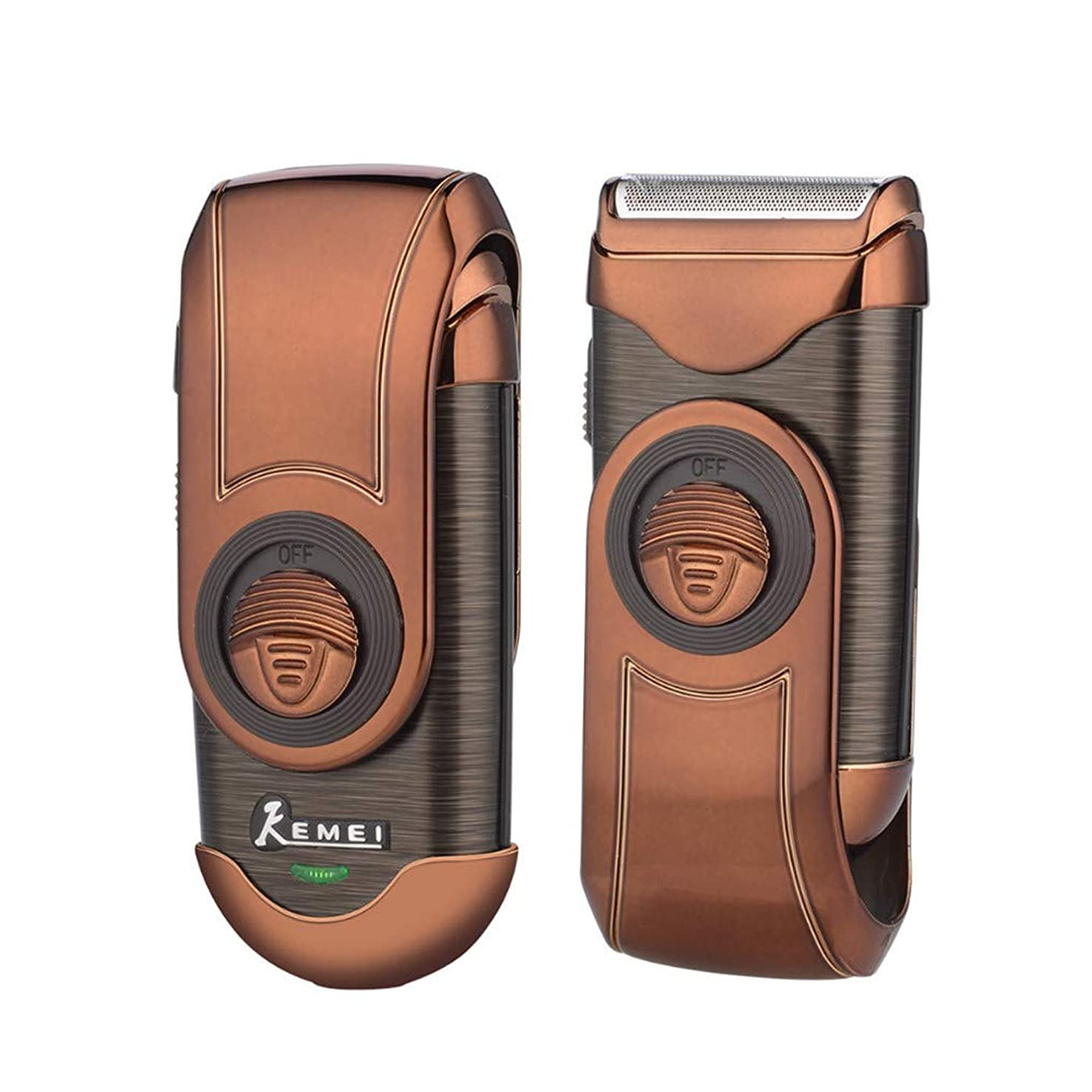 純度含めるクラシカル電動シェーバー 往復式 髭剃り 髪カット 携帯用メンズシェーバー トリマー付き 替え刃 旅行や出張に便利 ゴールド