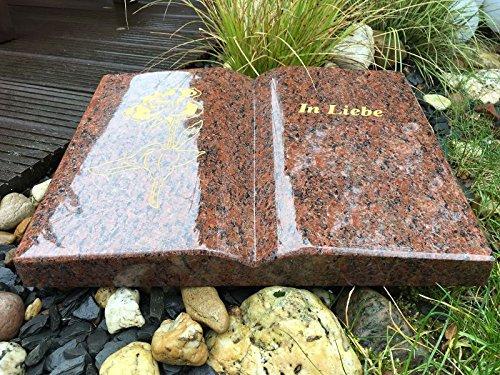 Stone & More Grabstein in Buchform Granit Vanga 40cm x 30cm x 6cm inklusive Gravur