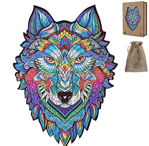Rosh Rompecabezas, Puzzle, Juguete de Animales de Madera. Cada Pieza Tiene Forma de Animal (Lobo)