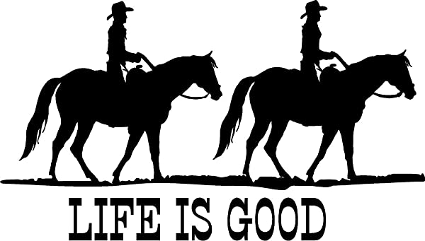 CreativeSignsnDesigns Life Is Good With Horses Trail Riding Graphics Trailer Truck Or Barn Vinyl Decal 20 X11 5 Dark Blue
