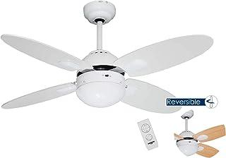 Bastilipo Ventilador Techo con Mando A Distancia E27, 60 W, Blanco, 105 x 41 cm