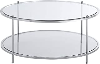 Convenience Concepts Royal Crest 2-Tier Round Coffee Table, Clear Glass/Chrome Frame