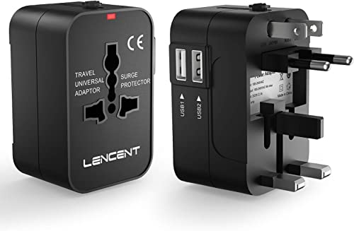 LENCENT Universal Travel Adaptor, All-in-One International Power Adapter, Worldwide Travel Charger for US, UK, EU, AU...