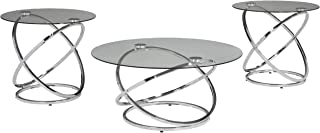 Signature Design by Ashley - Hollynyx Contemporary 3-Piece Table Set - Includes Cocktail Table & Two End Tables, Chrome Finish