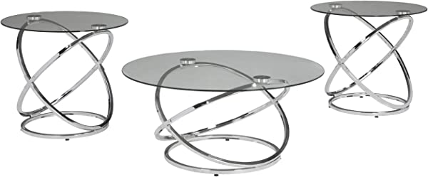 Ashley Furniture Signature Design Hollynyx Contemporary 3 Piece Table Set Includes Cocktail Table Two End Tables Chrome Finish