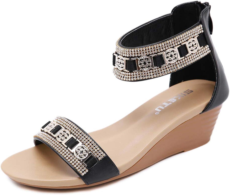 AGOWOO Women Beaded Wedge Sandals Zipper Skidproof Strap Sandles