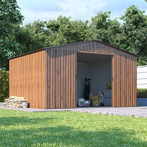 BillyOh Partner Woodgrain Apex Roof Metal Shed, Heavy Duty Galvanised Steel Shed, Foundation Kit (10x8)
