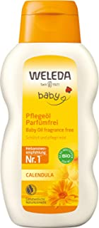 WELEDA Baby Calendula Pflegeöl Parfümfrei, Naturkosmetik Babyöl für die Pflege, Reinigung und Massage von Babys, Schutz vor Hautreizungen, Wundwerden und trockener Haut im Windelbereich 1 x 200 ml