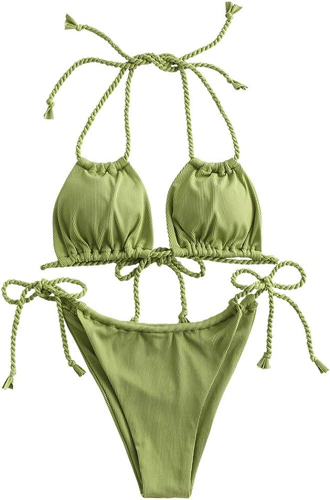 ZAFUL Women's Dot Print High Cut Cross Triangle Bikini Set Two Piece Swimwear