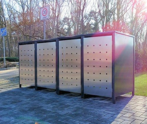 4 Mülltonnenboxen Edeldesign No.1 für 240 Liter Mülltonnen Anthrazit - Edelstahl / witterungsbeständig durch Pulverbeschichtung / mit Klappdeckel und Fronttür aus Edelstahl
