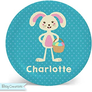 Easter Bunny Girl Melamine Bowl or Plate Custom Personalized with Childs Name