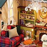 Decdeal DIY Puppenhaus 3D Holz Miniaturhaus Kit mit LED Licht Kunsthandwerk Geschenk für Valentinstag, Kindertag, Weihnachten, Hochzeit, Geburtstag - 8