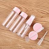7 unid/Set Mini Maquillaje de Viaje cosmético Crema Facial frascos de plástico Transparente contenedor vacío Botella de Viaje
