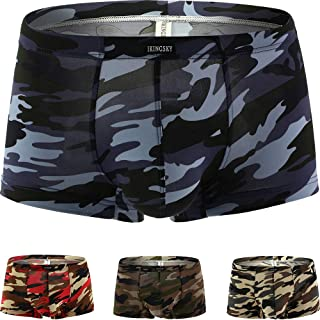 iKingsky Camouflage Boxer Briefs Men's Stretch Shorts High Stretch Pouch Trunks Soft Mens Under Panties