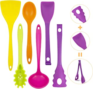 Euchoiz Color Silicone Kitchen Utensil Set - Cooking Utensils Set For Nonstick Cookware, BPA Free Silicone Turner Tongs Spatula Spoon Ladle Pasta Server Kitchen Cooking Tool Set 6 PCS