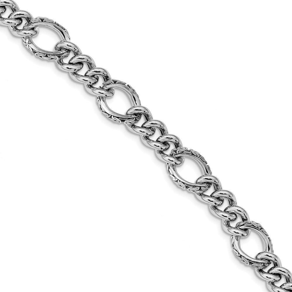 Leslie's Sterling Silver Polished Inexpensive latest Bracelet Fancy Link Textured