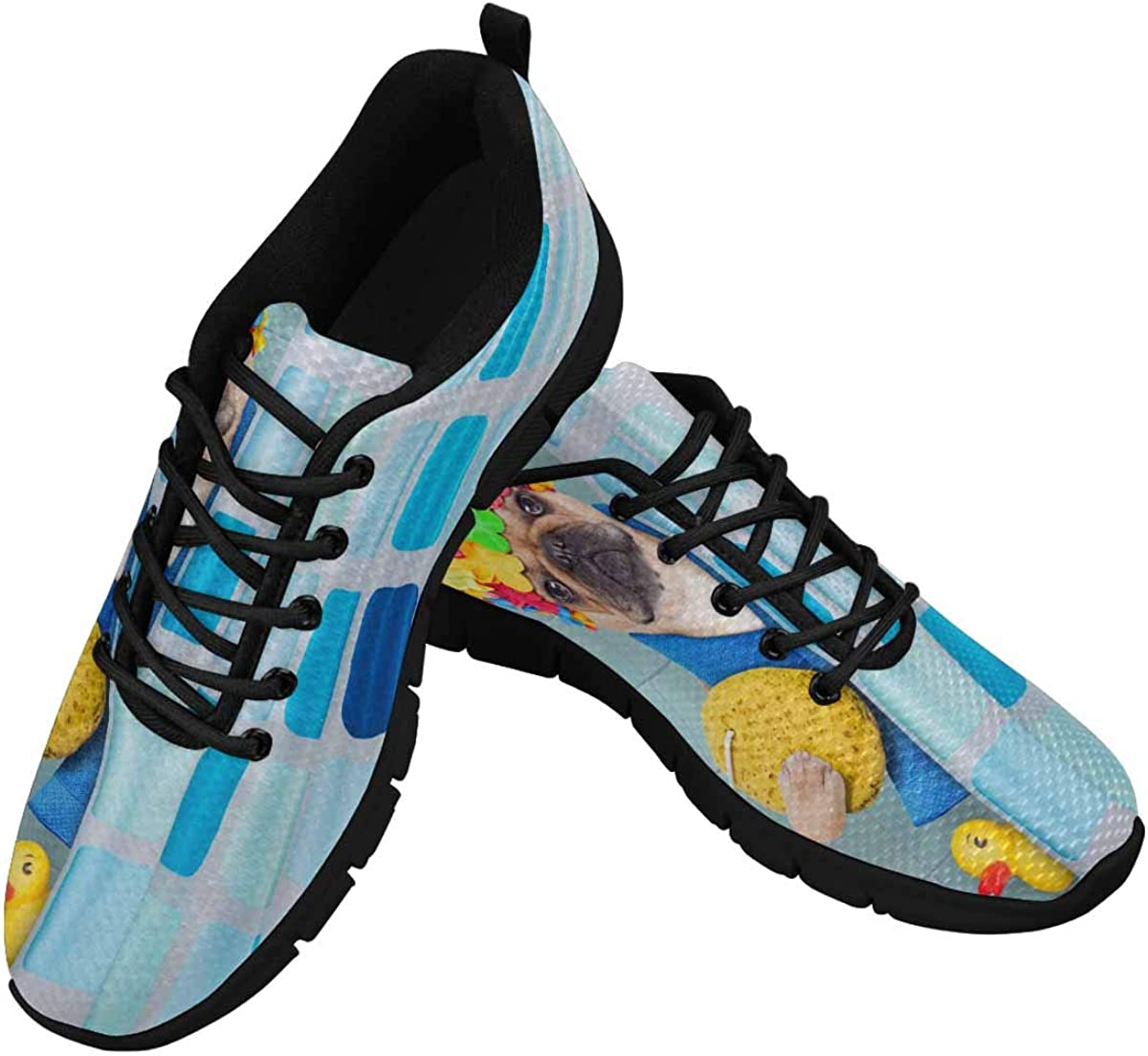 INTERESTPRINT French Bulldog Dog in a Bathtub Women's Lace Up Running Comfort Sports Sneakers