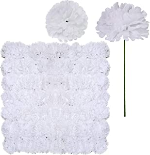 Supla 100 Pack Artificial Carnation Flowers Picks Bulk White Carnations Stems Silk Carnation Flower Heads with Wired Stems 3.5