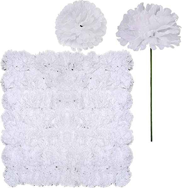 SUPLA 100 Pack Artificial Carnation Flowers Picks Bulk White Carnations Stems Silk Carnation Flower Heads With Wired Stems 3 5 X 7 9 WXH Floral Arrangement DIY Wreaths